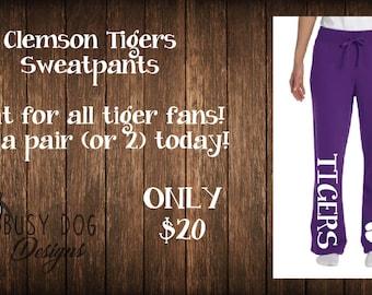 Tigers sweatpants, sports sweatpants, Clemson Tigers inspired sports team sweatpants.