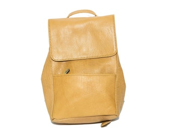 Premium Grained Leather Urban Backpack   Mustard