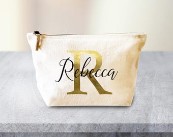 Personalized Cosmetic bag, Make Up Bag, Bridesmaid Gift, Custom Makeup Bag Gift, Custom Bridesmaid Gift, Gold Personalized Bag Travel Bag