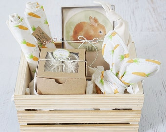 Baby basket etsy baby gift basket organic baby basket bunny rabbit ive arrived negle Choice Image