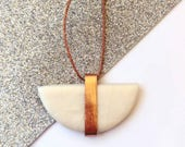 Semicircle Pendant, White and Copper Long Necklace, Contemporary Half Circle Necklace,  Minimal Polymer Clay Jewelry