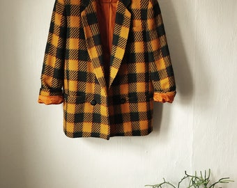 Yellow + Navy Gingham Blazer