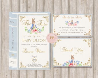 Peter Rabbit Invitation, Bunny Baby Shower, Bunny Birthday Invitation, Book Invitation, First Birthday Invitation