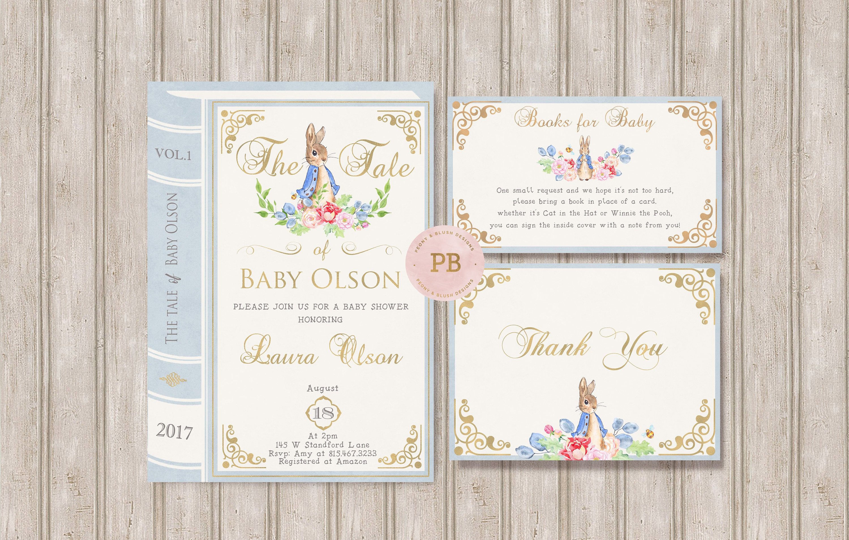 Peter Rabbit Invitation Bunny Baby Shower Bunny Birthday