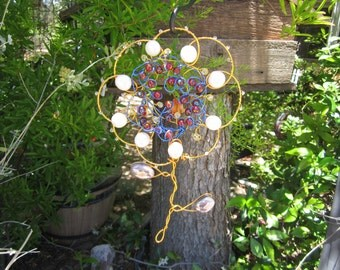 Large Flower Sun Catcher - With Glass Beads #4531