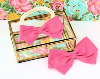 Pink Hair Bow, Girls fabric bow, toddler, baby shower -Bubblegum Pink Bow