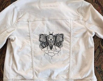 Custom made taupe colored jean jacket