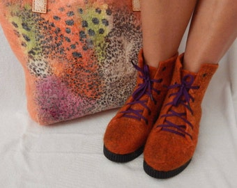 Outdoor felted shoes with soles. eco fashion  shoes.Boots for women Handmade shoes Outdoor felted boots with PU soles.  shoes for women.
