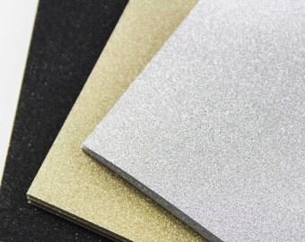 25 - A7 Glitter Card Stock - 5 1/8 x 7 - Gold Glitter, Silver Glitter, Black Glitter Invitation Paper