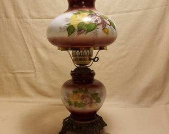 Vintage GWTW Hurricane Table Lamp Burgundy Floral