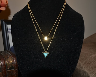 Two in one necklace with turquoise pendant