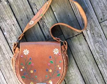 70's handtooled hand painted leather saddlebag