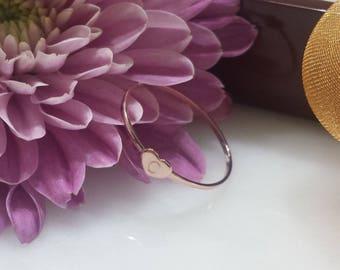 Solid 14kt rose gold initial ring , A , B , C , D , E , F , G , H , I , J , K , L , M , N , O , P , Q , R , S , T , U , V , W , X , Y , Z