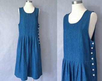 Vintage denim button down pleated dress Eddie Bauer women's size S/M/L