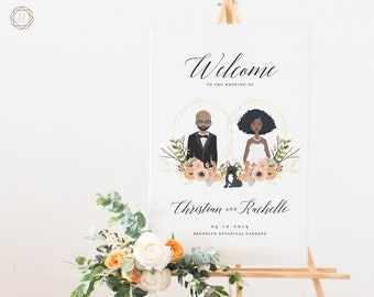 Wedding Welcome Sign, Welcome Wedding Sign, Welcome Sign, Illustrated Welcome Sign, Couples Portrait, Wedding Illustration Sign, #IPP