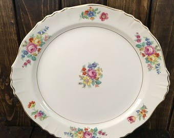 Syracuse China Federal Shape Rosemoor Platter Chop Plate Handled Cake Plate Floral Scalloped Rim Gold Edge Round 13 inch Made in America