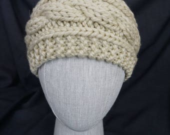Natural / Ecru Hand Knit, Cabled Headband; Large, Adult