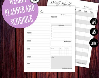 Weekly Planner, Weekly Schedule, 2018 Weekly Planner, Printable Weekly Agenda, Weekly To Do, Weekly Planner Bundle, A5 Inserts Filofax, Page