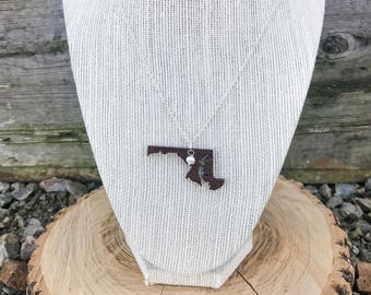 Maryland, Maryland State Necklace, Wooden State Necklace, Maryland Jewelry,  Personalized Gift, Going Away Gift