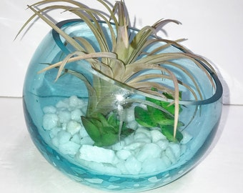 SALE - 50% OFF Faux Succulent Terrarium,  Artificial Succulent Planter, Glass Planter, Desk Accessory, Succulent Terrarium, Succulent Gift