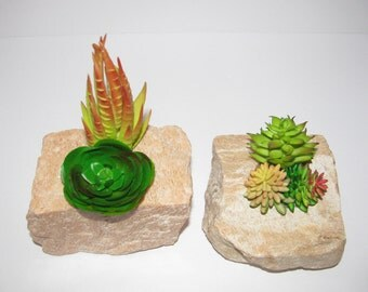 Granite Planter for Faux Succulent, Succulent Planter in Granite, Modern Arrangement, Desk Accessory, Unique Succulent Gift