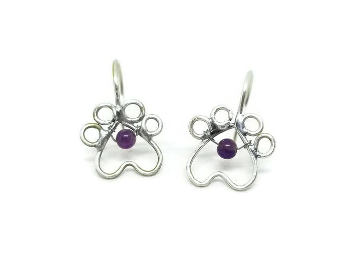 Sterling Silver Gemstone Paw Print Earrings, Dog Lover Earrings, Gift for Pet Owner, Unique Birthday Gift, Gift for Her