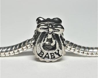 Silver Baby Bib Charm for European Bracelets (item 206)