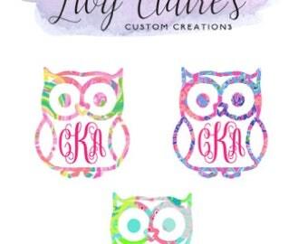 Owl Monogram Decal, owl, Decal, yeti, ozark trail, tumbler, window decal, phone decal, monogram