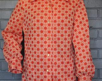 Vintage 1970's Orange diamond pattern geometric blouse