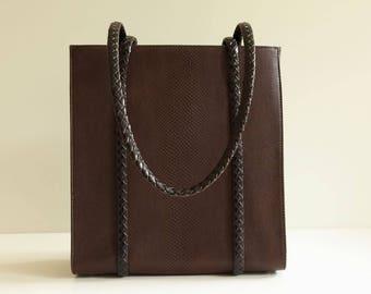 Bally vintage handbag / shoulder bag in brown snakeskin pattern leather