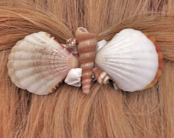Shell Hair Barrette, French Barrette, Natural Seashells