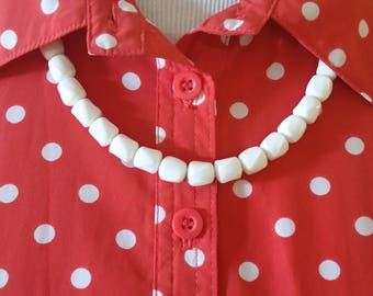 "Vintage Crown Trifari White Beaded Statement Necklace Geometric Beads 24"""