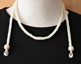 """Vintage Boho Chic Crocheted Seed Bead Tassel Wrap Draping Necklace White Retro Costume Jewelry 40"""""""