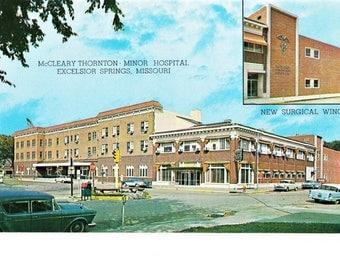 Vintage Excelsior Springs Missouri Mid Century Real Photo Postcard McLeary Thornton Minor Hospital Unposted