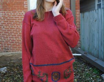 Vintage Sweater, 90's Sweater, 90's Clothing, Liz Claiborne, Maroon, Dark Red, Vintage Clothing, Vintage Style, Ugly Sweater, Grandma