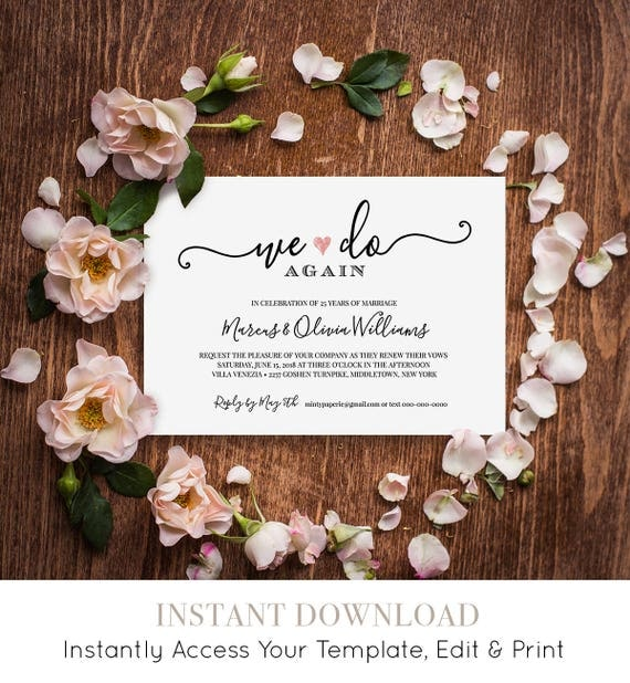 Vow Renewal Invitation Template, Wedding Anniversary, Printable Invite, Calligraphy, We Do Again, Editable, Instant Download #030-203VR