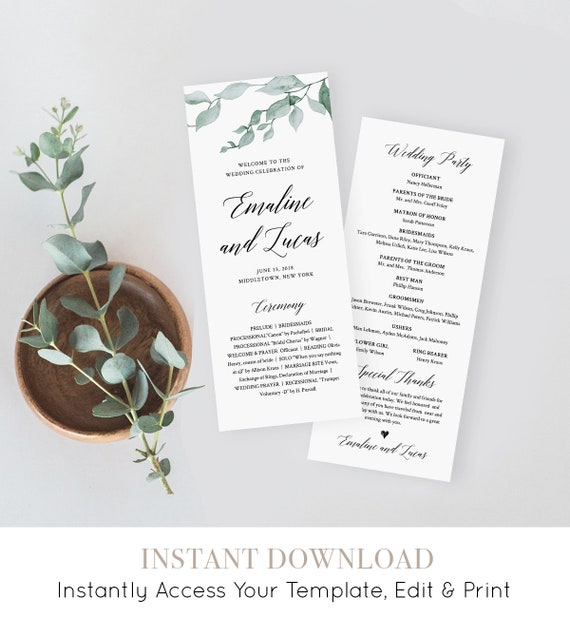 Greenery Wedding Program Template, Printable Order of Service, Ceremony Program, Instant Download, 100% Editable, Templett #019-208WP