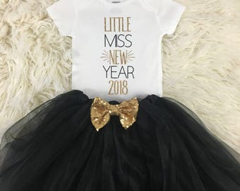 Little Miss New Year, My First New Years, New Years Shirt, New Years Tutu Outfit, New Years Outfit Baby Girl, New Years Eve Outfit Baby