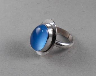 sterling silver blue chalcedony statement ring