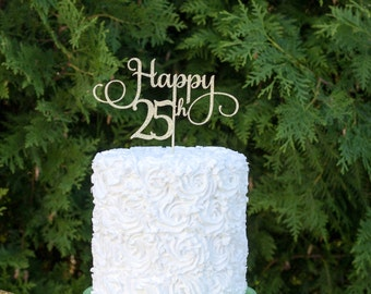 Happy 25th Cake topper, 25th birthday party,25th birthday cake topper, twenty fifth birthday decorations, 25th birthday decorations, 25decor