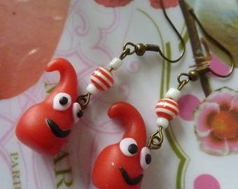 Earrings in antique bronze snowman thingy drop kawaii red polymer clay and seed beads
