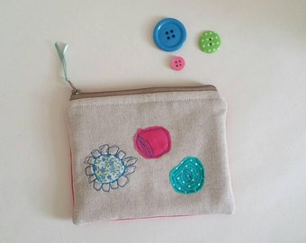 Coin purse, purse, fabric purse, zipper pouch, small clutch, pink, flowers,  applique, handmade, made in Cornwall, for her