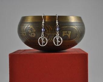 Tree Pose earrings, Yoga earrings, Yoga jewelry, Purple earrings, Silver earrings, Dangle earrings, Silver jewelry