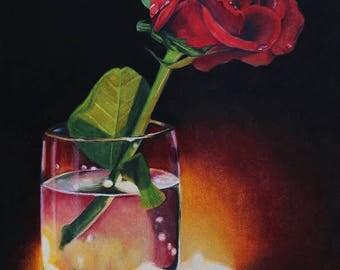 """Art Print of """"The Petals Fall"""" Colour pencil drawing"""