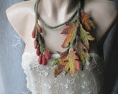 Felted necklace,Felt leaves,Felt leaves lariat,Felt belt,Felt scarf with leaves,unique art to wear,felted leaf scarf for fall ,Original Belt