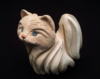 Vintage Artesania Rinconada Uruguay Pottery Figurine, White Persian Cat #83