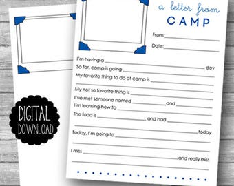 PRINTABLE Summer Camp Stationery / Printable Fill in the Blank Camp Letter / Summer Camp Letter / Kids Camp Letter / INSTANT DOWNLOAD