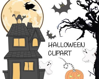 HALLOWEEN CLIPART Png DIY Kit Digital Download Autumn Card Design Holiday Party Witch Black Cat Pumpkin Bat Haunted House