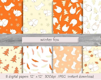 Arctic White Fox Winter Digital Paper Forest Animal Prints Foxes Background Woodland Themed Scrapbook Pictures Printable