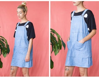 Vintage 90s Denim Jumper Mini Dress